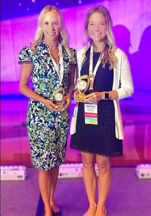 Representatives Vaneli Bojkova and Courtney Schintzius accepted the FFEA SUNsational Award on behalf of IPC. ©International Polo Club Palm Beach