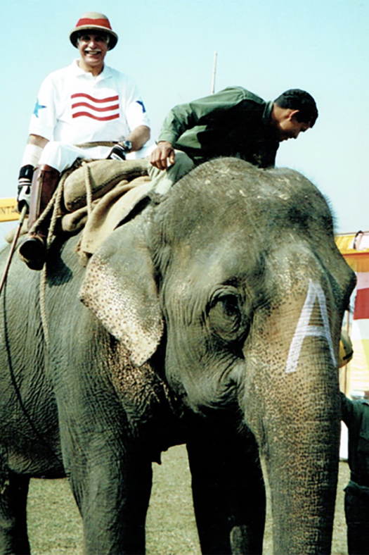 Played on a dirt field, Dr. Richard Caleel took a trip to Nepal to play elephant polo.