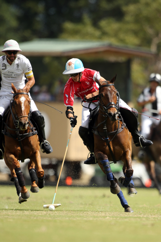 Scone's Poroto Cambiaso closely followed by La Indiana's Polito Pieres. ©David Lominska