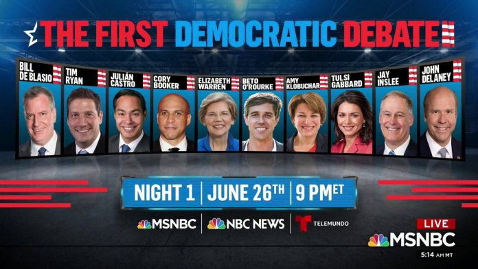 First Democratic Debate June 26 Podium Order