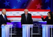 Dem Debate June 27 Biden Harris Sanders