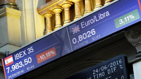 Brexit. Bolsa de Madrid, esta mañana. CLAUDIO ÁLVAREZ