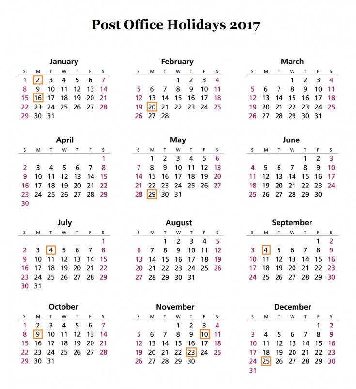 USPS Holidays 2017 | Post Office Holiday Hours & Schedule
