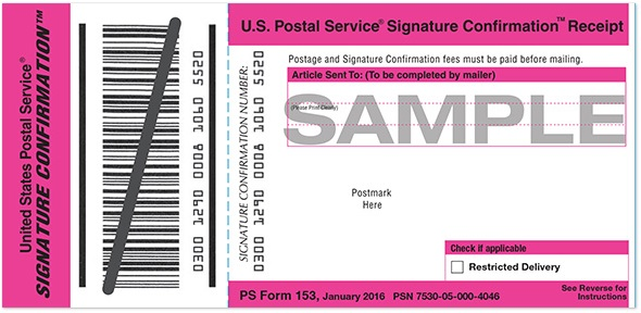 Signature Confirmation Form, USPS Signature Confirmation, USPS Signature Confirmation Cost, USPS Signature Confirmation Work