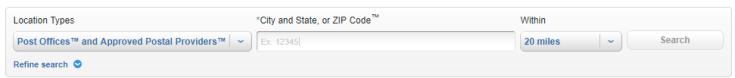 Zip codes in USPS Locator tool
