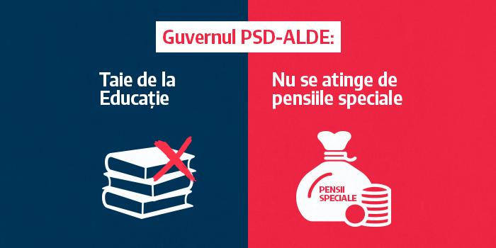 Guvernul PSD-ALDE taie de la Educație, dar nu se atinge de pensiile speciale!