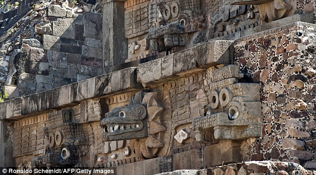 Carvings decorating the Pyramid of the Feathered Serpent