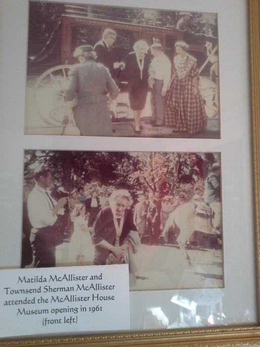 Photos of Matilda McAllister, the only surviving member of the original McAllister family, visiting her childhood home for the opening of the museum in 1961.