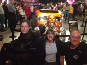 Three of us with the Achmedmobile at the Jeff Dunham show. (Credit: Donette Bisbee)