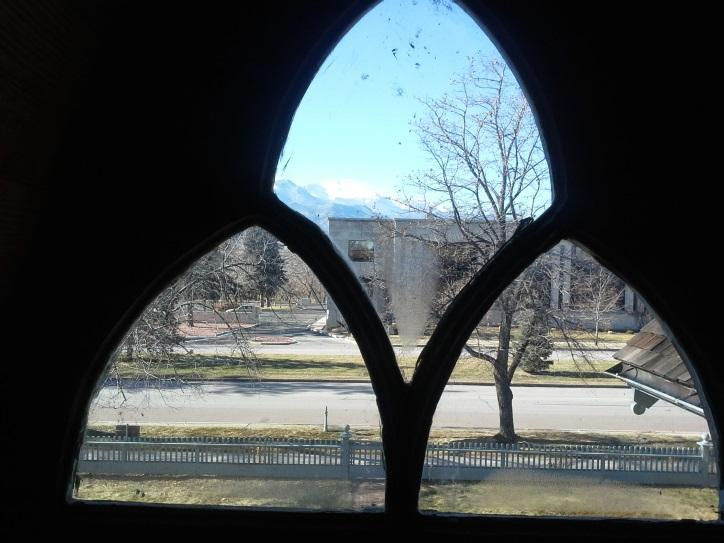 View of Pikes Peak from the attic trefoil window.