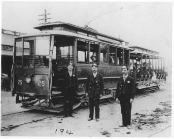 A Streetcar with workers in 1898. (Credit: Penrose Library Digital Archive)