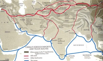Map of overland and maritime Silk Road