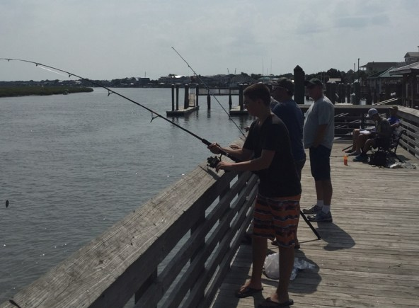 Fishing off the pier at Bay Point Marina. (Credit: Darcy Martineau)