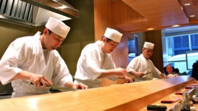 (Photo: Sushi Yasuda) Traditional Male Sushi Chefs in the Edo, or macho, style.
