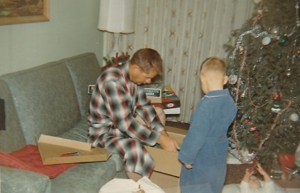 My dad and brother Donnie, Christmas 1966 (Credit: Jan Winters)