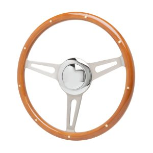 15″ Vintage Classic Style Wood Steering Wheel – Brushed Stainless