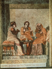 Scene from Menander's Women at Breakfast (click to see larger image)