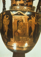 Greek vase depicting a scene from a tragedy about Orestes (click to see larger image)