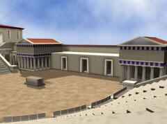 Reconstruction of the Theatre of Dionysus (click to see larger image)
