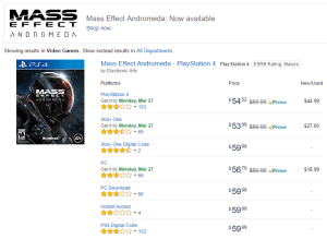 Mass Effect Andromeda page on Amazon, as of March 25 2017