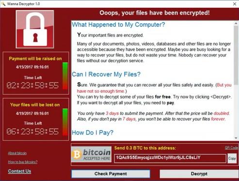 Captura de pantalla de un ordenador secuestrado por el virus WannaCry. Como evitar el virus WannaCry.