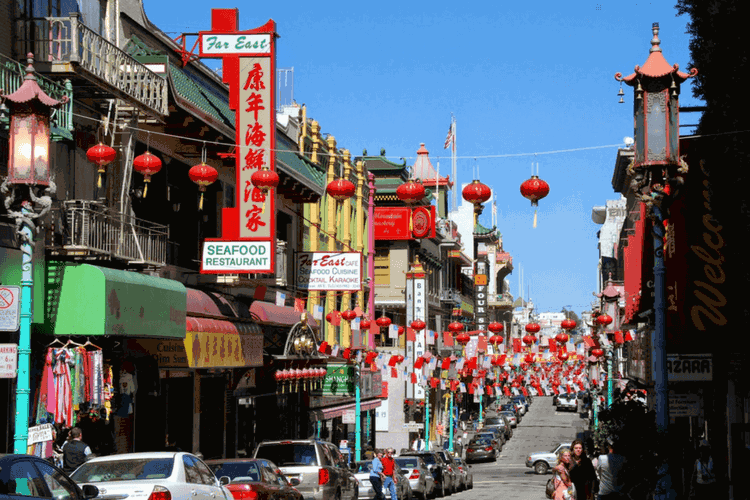 Streets of the oldest Chinatown, San Francisco