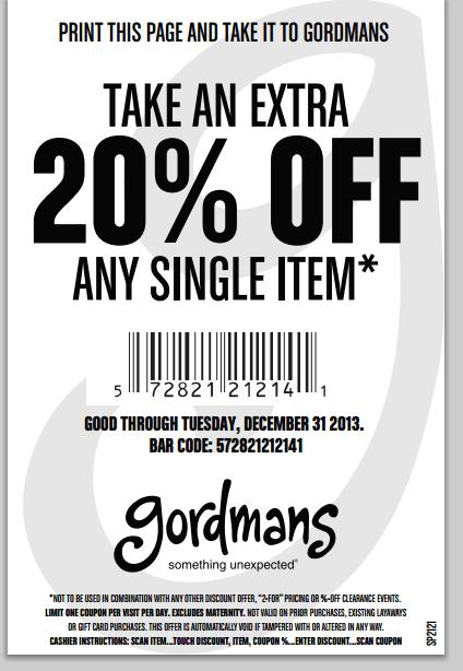 Gordmans 20 Printable Coupon