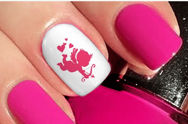The Matte Finish Is Achieved By Leaving Pink As After Buffing Only Silver Accent Fingers Are Capped With Gel Nail Art 1 2