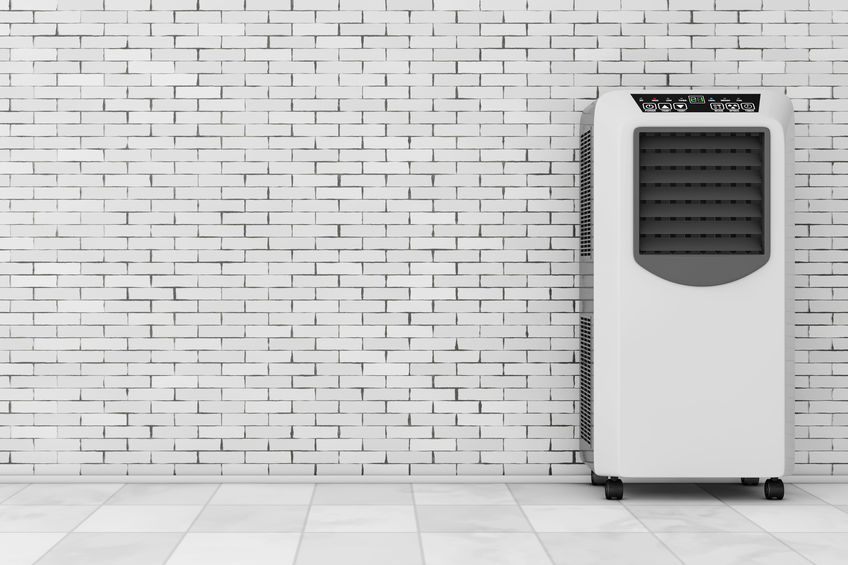 Un climatizzatore portatile in azione