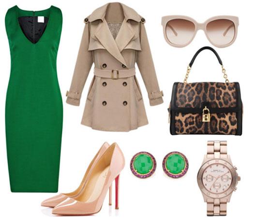 poslovna kombinacija sa zelenom haljinom