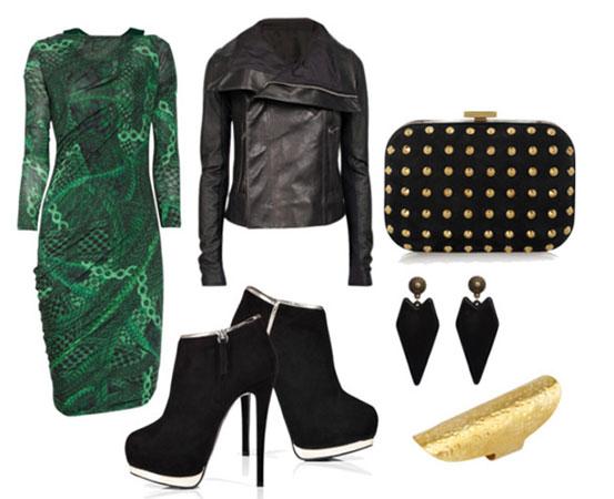 flertujuca kombinacija sa zelenom haljinom
