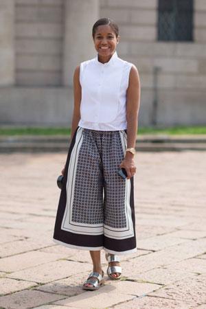 culottes pantalone sa printom
