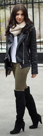 farmerke cizme iznad kolena kozna jakna