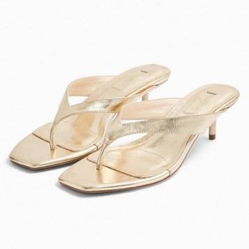 zlatne thong sandale
