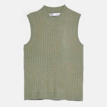 siva pletena bluza