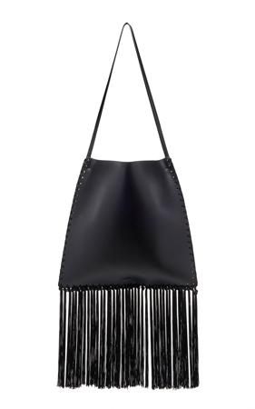 zenske torbe za leto- crna kozna resasta