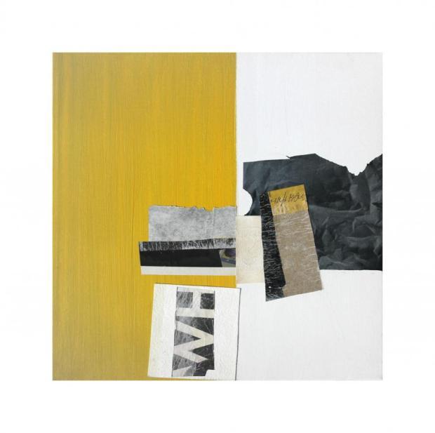 laura scaringi-collage sul giallo mutevole-collage su tela-60x60