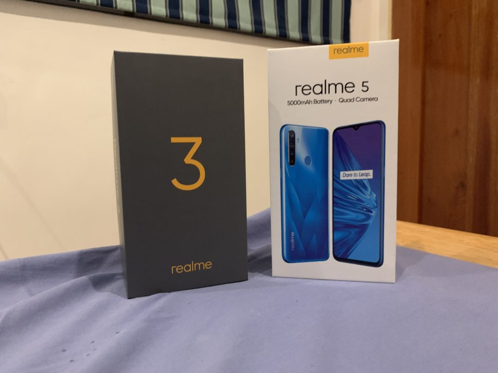realme 5 first impressions with realme 3 box