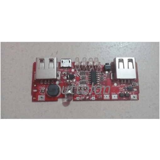 2 USB Power Bank Charger Circuit 3.7v to 5v 2A