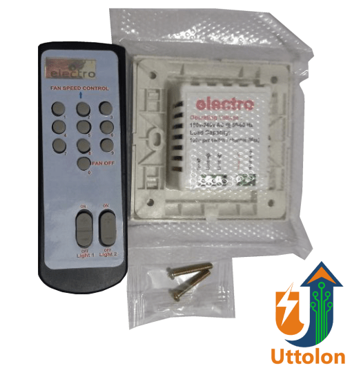 Remote Control One Fan and Two Light Electric Switch uttolon