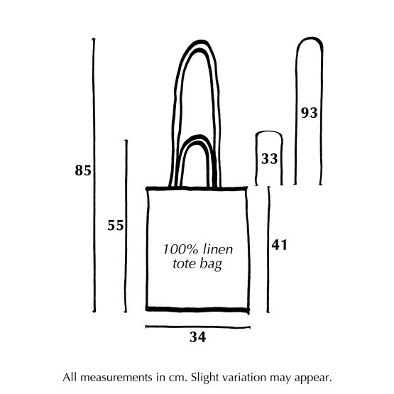 Diagram of dimensions for Utu Textiles' linen tote bags