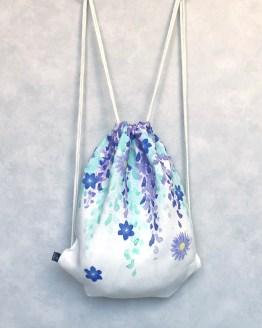Fuji Lila Linen Drawstring Bag