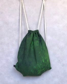 Metsis Green Linen Drawstring Bag