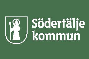 Södertälje kommuns logotyp i vitt