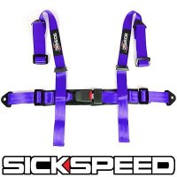 "1Pc Purple 4 Point 2"" Nylon Racing Harness Adjustable Safety Seat Belt Buckle Q1 for Bobcat Toolcat 5610"