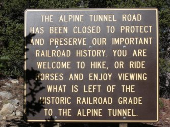 Alpine Tunnel Road Sign