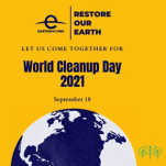 Logo for World Cleanup Day showing the silhouette of the earth on a bright yellow background