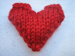 Red knitted heart