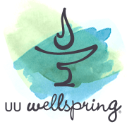 UU Wellspring logo - chalice on watercolor background