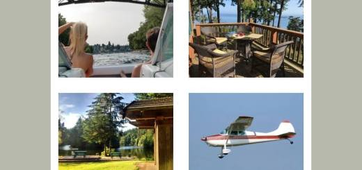 Photos of boat ride, cabin deck, lakeside cabin and small plane